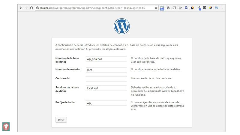Instalar WordPress, configuración nombre Base de datos
