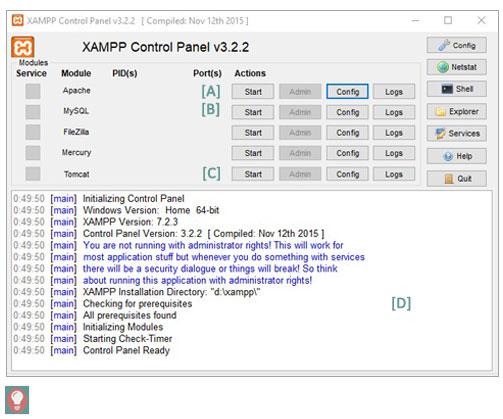 Xammp panel de control características de la ventana